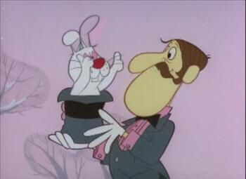Professor Hinkle magician with rabbit from Frosty the Snowman