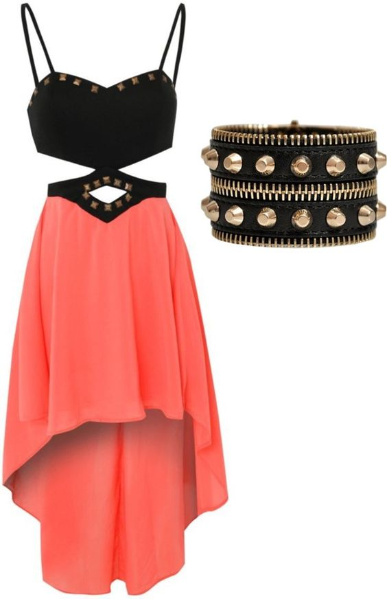 Edgy High Low Skirt paired with a Leather Cuff---> FIERCE