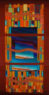 """Handwoven Tapestry, """"Neon Rectangles and Curves Fractured Square Series"""" by Donna Loraine Contractor"""