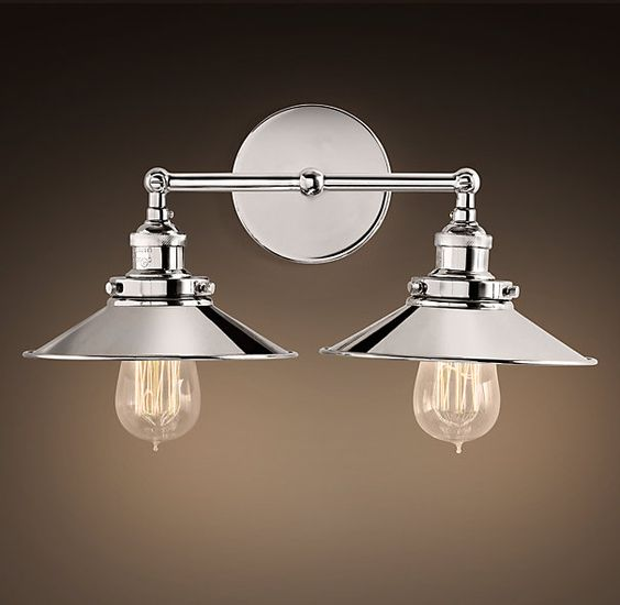 Polished nickel sconces and factories on pinterest Restoration bathroom lighting