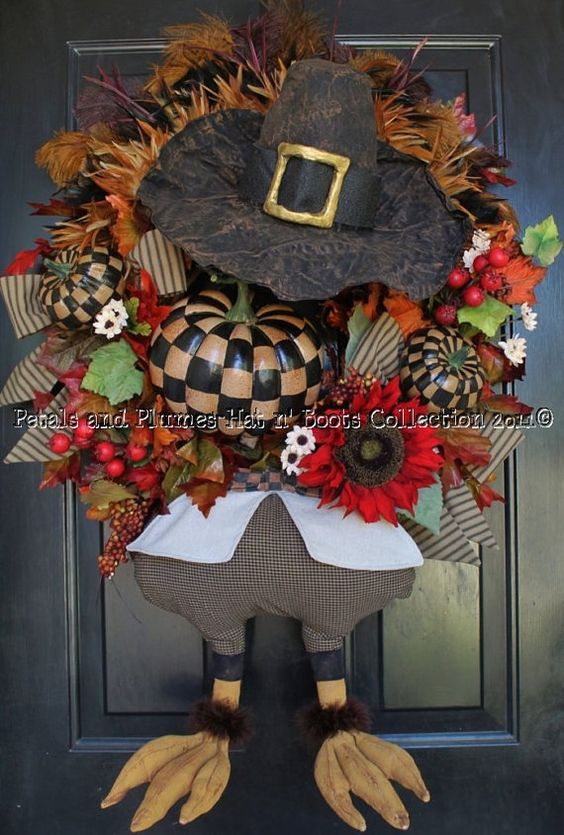 """""""Mr. Gobble Gobble"""" Turkey with Prim-tique Checkerboard© Pumpkins-Thanksgiving Wreath-Hat n' Boots Collection©"""