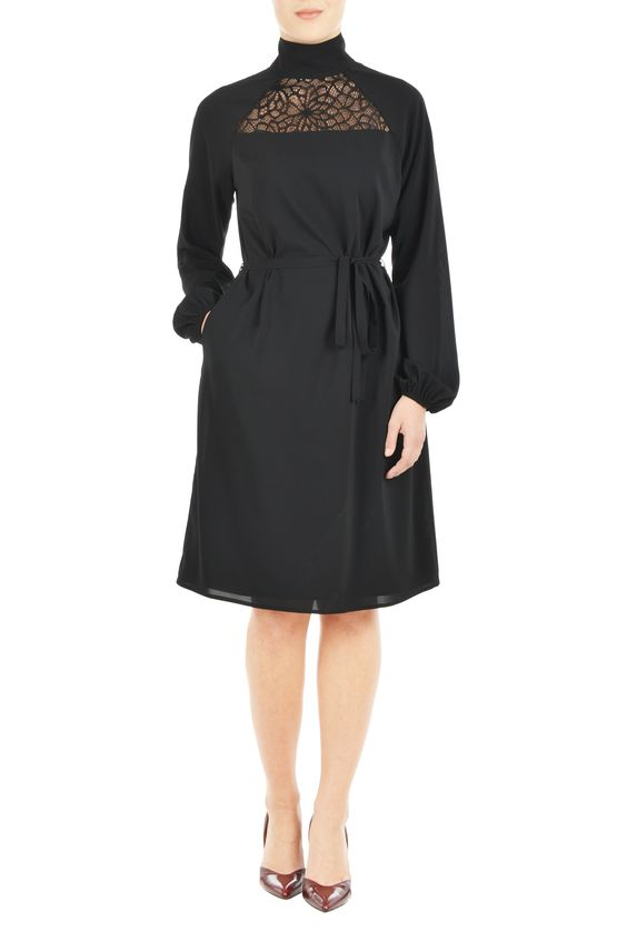 Lace Yoke Turtleneck Crepe Dress