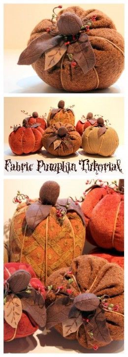 Fall Fabric Pumpkin Tutorial from The Cottage Mama. www.thecottagemama.com: