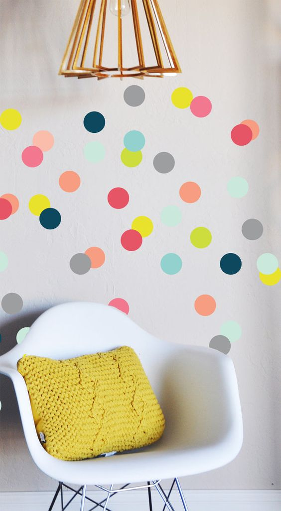 Colorful Confetti Dots Wall Decal by TheLovelyWall on Etsy