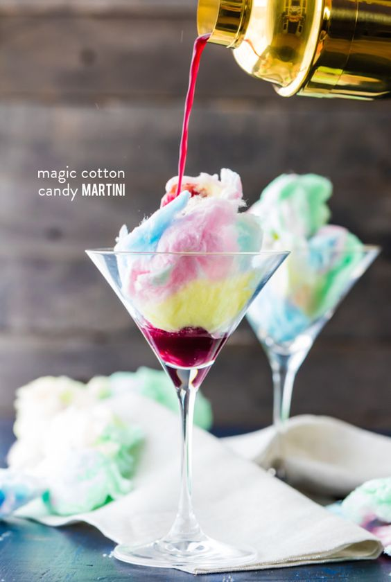Make these magical Cotton Candy Martinis for your next cocktail party: http://www.stylemepretty.com/living/2015/09/30/magic-cotton-candy-martini/