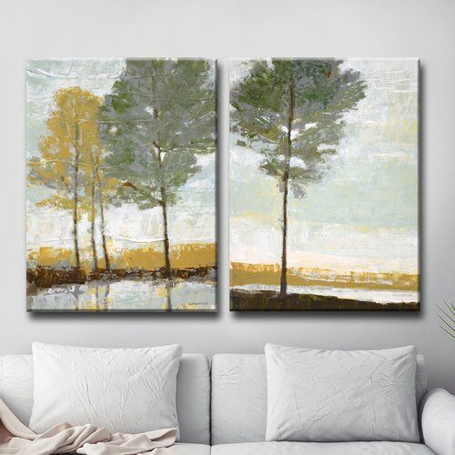 Lakeside View I Ii 2 Piece Wrapped Canvas Print Canvas Wall Decor Lakeside View Wall Canvas