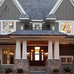 Farmhouse Exterior Design Ideas, Pictures, Remodel and Decor  Too heavily Craftsman?