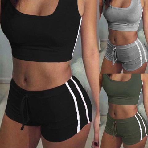 2Pcs Womens Sport Workout Gym Crop Tops+Shorts High Waist Jumpsuits Tracksuits