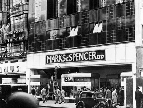 Marks and Spencer, 1938 at The Pantheon. It was later transformed into a theatre and bazaar, until 1937, when it was demolished for a new Marks and Spencer store to be built. The image shows the new store about to open in 1938. The granite fronted building of today was awarded Grade II listed status in 2009.