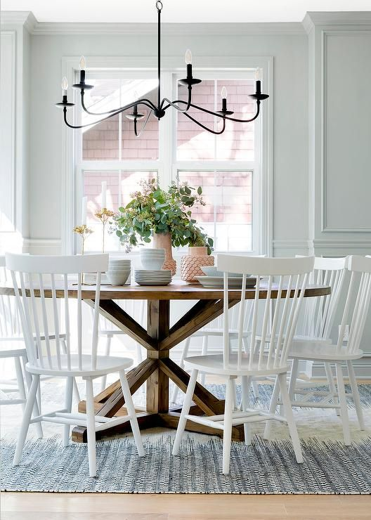 Bria Hammel Interiors White Windsor Chairs Sit On A Black And
