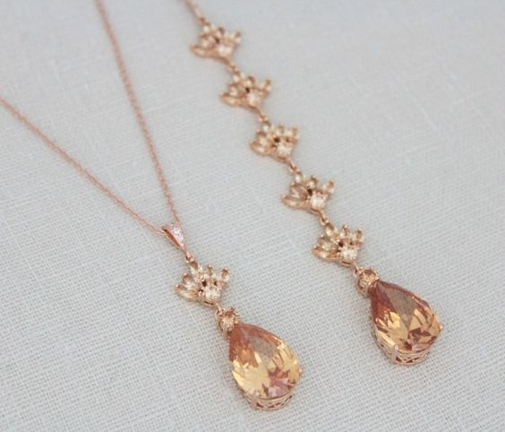 Swarovski Crystal Bridal Backdrop Necklace - EMMA