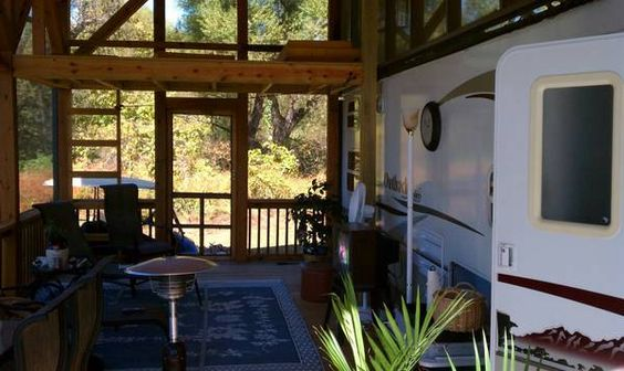 Rv enclosed porch on the road pinterest lakes for Portico anteriore a trave aperta