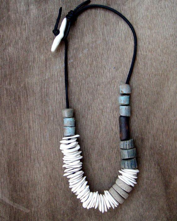 Ceramic jewelry, Ceramic Necklace, Statement Necklace, Porcelain Jewelry, Porcelain Necklace, Boho jewelry One of a kind  A Statement Ceramic Necklace