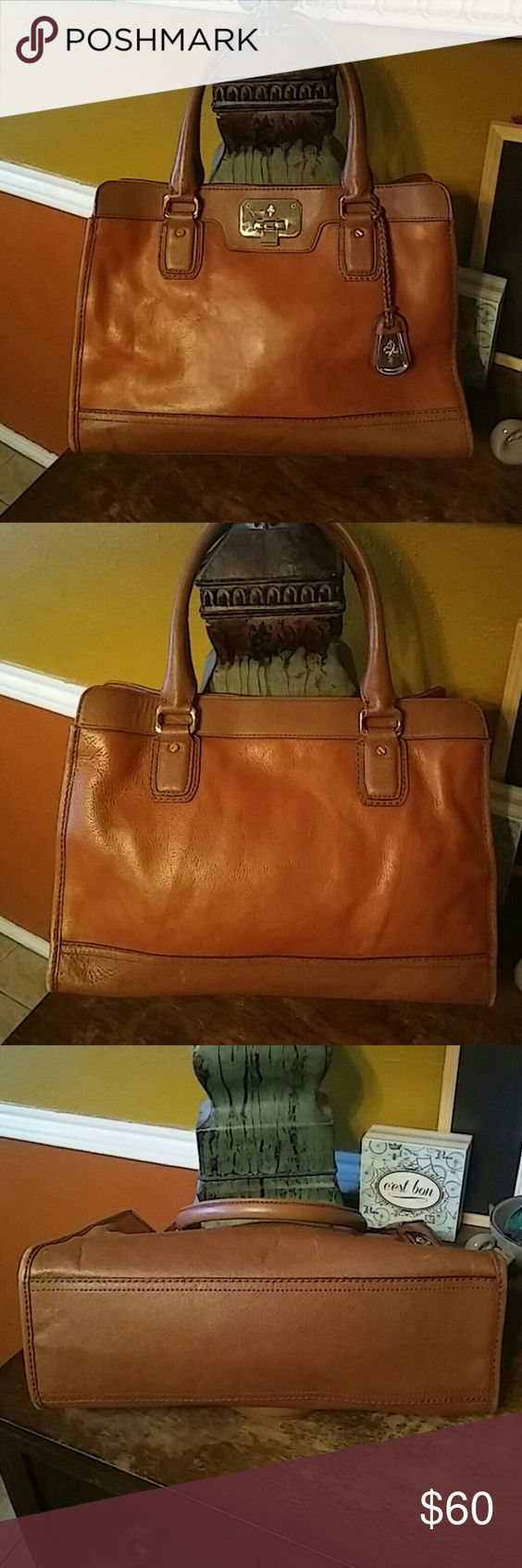 """Cole Haan Satchel 2 tone leather bag. Brown on top and bottom the middle is like a brown with an orangy tone. Good condition slight wear to corners. Interior zip pocket. Gold hardware. Strap drop is 7"""". 14x10x5 Cole Haan Bags Satchels"""