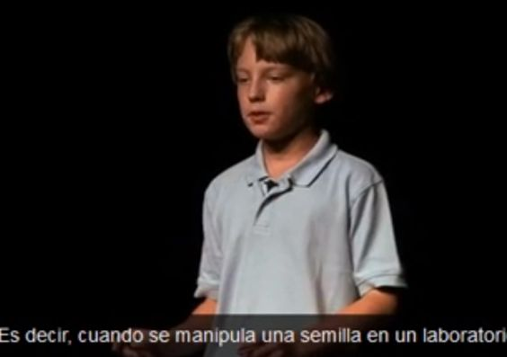 Niño destroza a Monsanto en conferencia