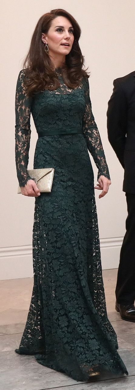 Who made Kate Middleton's gold clutch handbag, sandals, pink drop earrings, and green long sleeve lace gown?