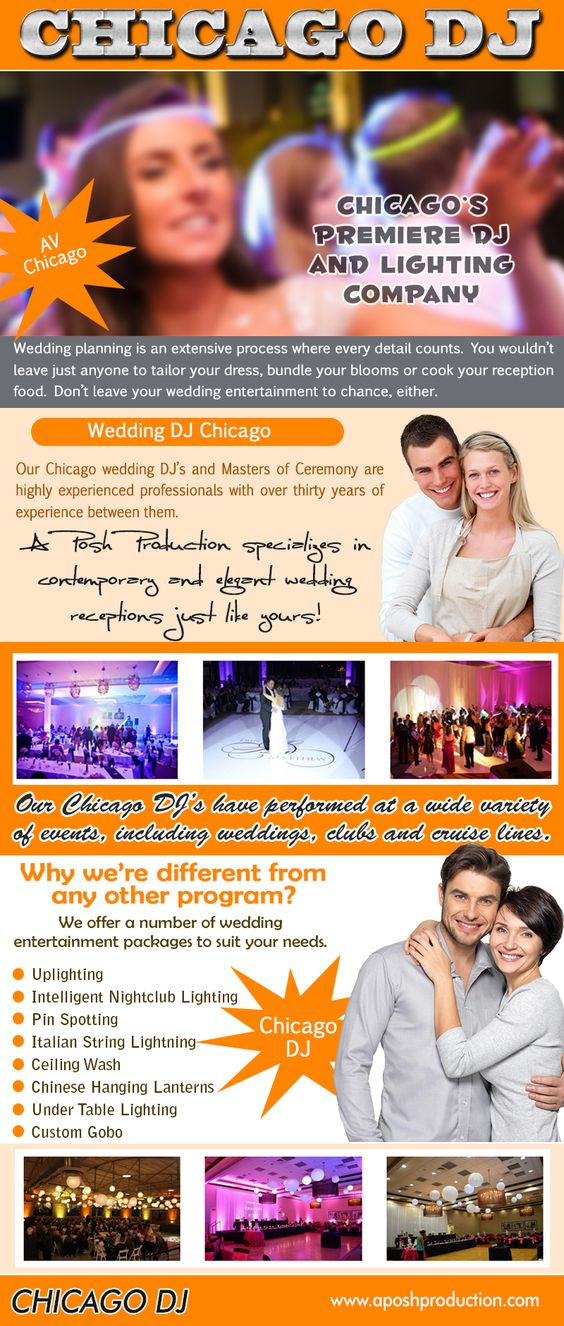 Visit this site https://twitter.com/RentalBooth for more information on Chicago DJ. Your wedding Chicago DJ will guide your reception. Professional wedding disc jockeys announce the couple's arrival, the couple's first dance, the father-daughter dance, the cake-cutting ceremony, and, at the end of the reception, the couple's departure.