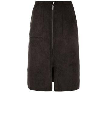 Black Suedette Zip Front A-Line Midi Skirt