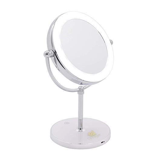 Milzie Portable Double Sided Makeup Mirror With Natural White Led