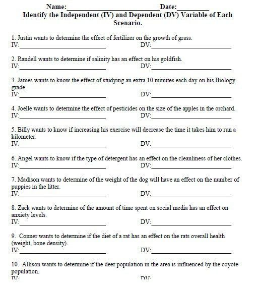 Independent And Dependent Variables Math Worksheet With Answer Key Dependent And Independent Variables Math Worksheet Variables