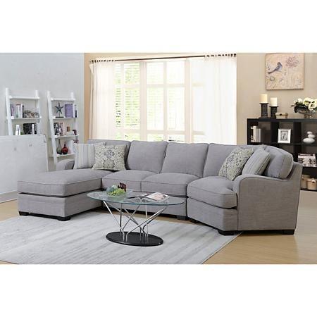 Analiese Sofa Sectional Linen Gray Sam S Club Sectional Sofa 3 Piece Sectional Sofa Grey Sectional