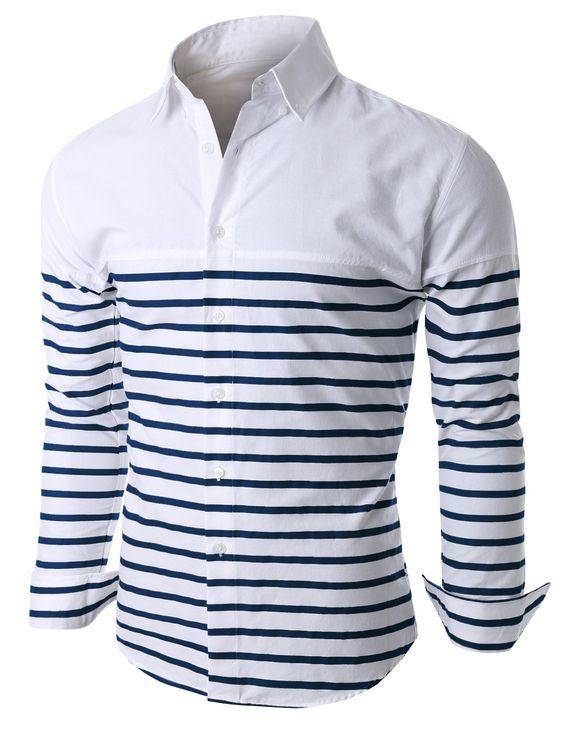 Doublju Mens Cut and Sewn Half Stripe Casual Button Down Shirt (KMTSTL0163) #doublju