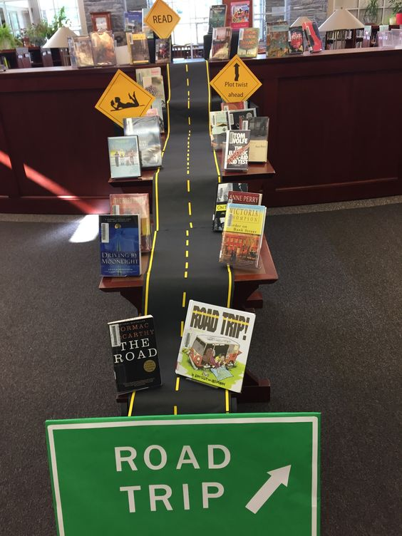 "Road trip display. Our favorite sign on the road ""Plot twist ahead."":"