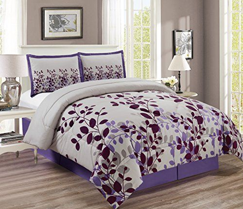 4piece Fine Printed Comforter Set Reversible Goose Down Alternative Bedding Queen Purple Lilac Grey Chec Bed Linens Luxury Comforter Sets Bed Comforter Sets Cheap queen size bedding sets