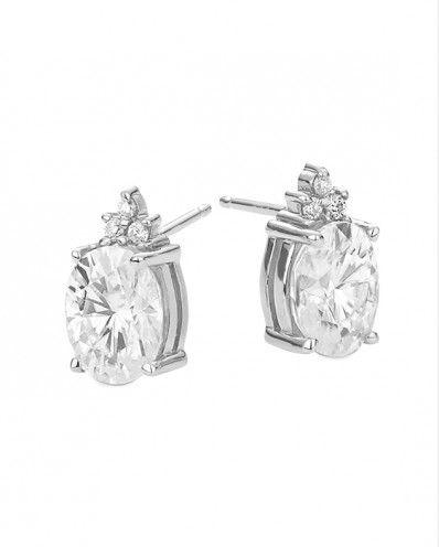 Selina - 3.10ctw Oval Shape Forever Classic™ Moissanite Earrings, 14k White or Yellow Gold