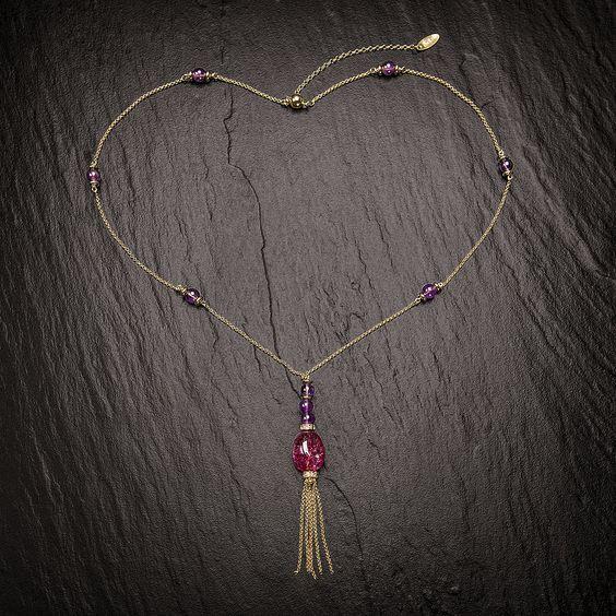 Le Papillon. Collier Silber vergoldet & Double. Mit Amethysten und Pink Quarz Anhänger.  http://eclat-joaillerie.com/produkt/le-papillon-collier