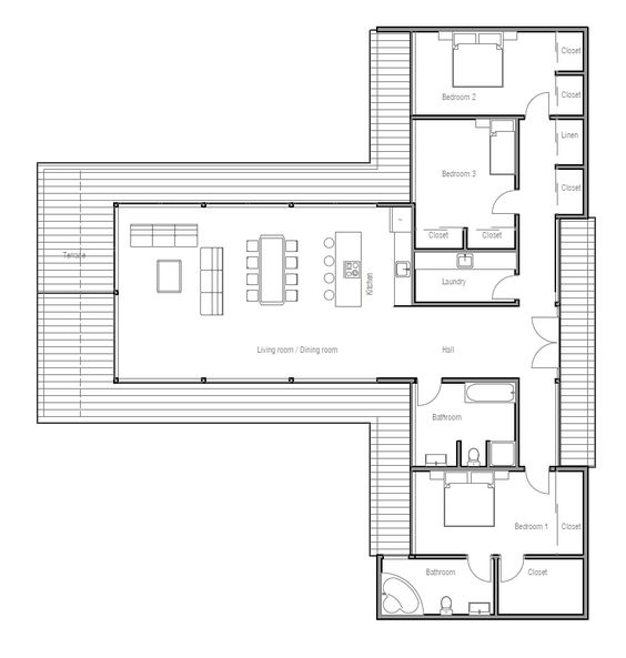 Incredible Modern Contemporary House Plan With Three Bedrooms And Large Largest Home Design Picture Inspirations Pitcheantrous