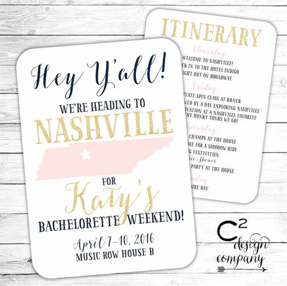 Nashville Bachelorette Party Invitation with Itinerary