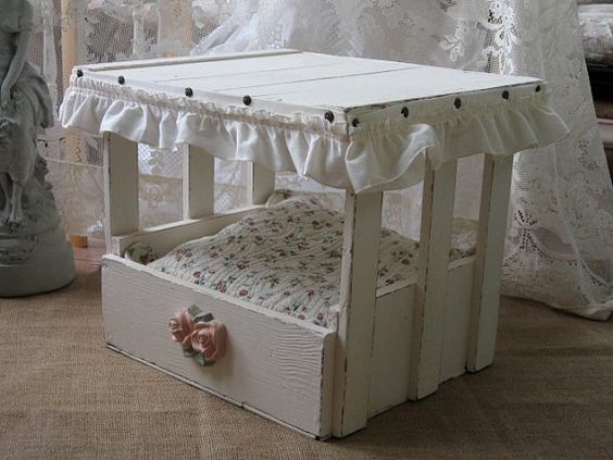 Reserved shabby chic pet bed cat bed small dog bed for Shabby chic dog