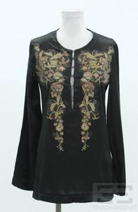 Just Cavalli Black Satin Silk & Metallic Gold Floral Applique Tunic