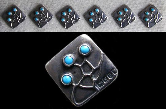 MAX JOSEPH GRADL (1873-1934) for THEODOR FAHRNER  A set of six silver buttons set with turquoise stones.  Anglo/German. 1902. Marked to the reverse 'T F' and marks for Murrle Bennett & Co. Hallmarks for 1902.