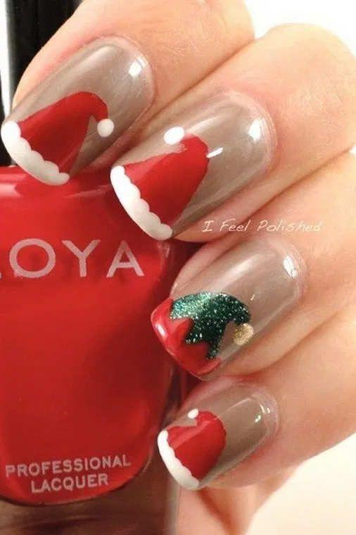 42 Cute Santa Christmas Nail Designs For Your Holiday Xmas Nail Art Santa Nails Xmas Nails