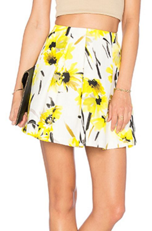 White, Yellow, and Black Floral Skirt