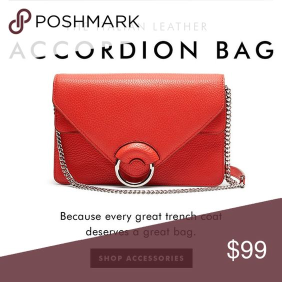 "BR red leather accordion bag Bright Red leather bag. Silver chain, shoulder strap at the top for comfort. Double flap construction. This bag is amazing! It has room for a regular sized wallet, cellphone, keys and a few other essentials, built in slots to hold credit card/ID. Easily convertible into a statement clutch - strap and a chain could be folded in. Like new condition ABSOLUTELY NO SIGN OF WEAR - beautiful vibrant color adds pop to your favorite LBD. 9-1/2x6-1/2x3"". 43""strap. PRICE…"