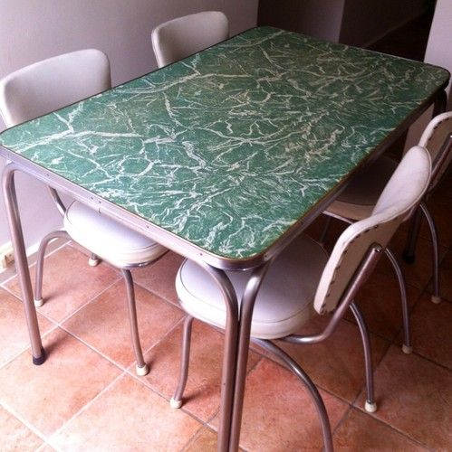 Vintage Retro Kitchen Table And Chairs. Green Marbelled Laminex. $1.79    I have a table like this only mine is grey with funky patterned panels on the sides