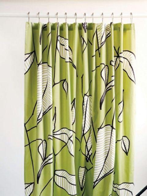 Crate Barrel Marimekko Sarastaa Green Leaf 72 X 72 Shower Curtain Euc Marimekko Shower Curtain Shower Curtain Curtains