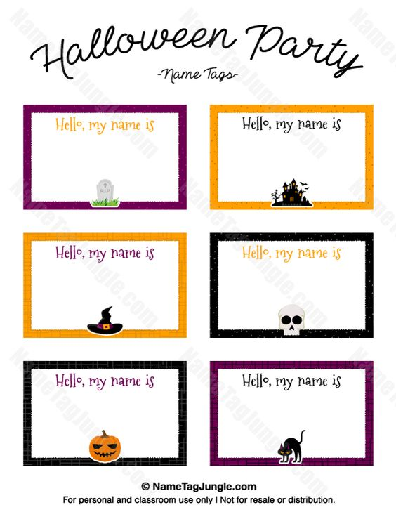 Free printable Halloween party name tags. The template can also be ...