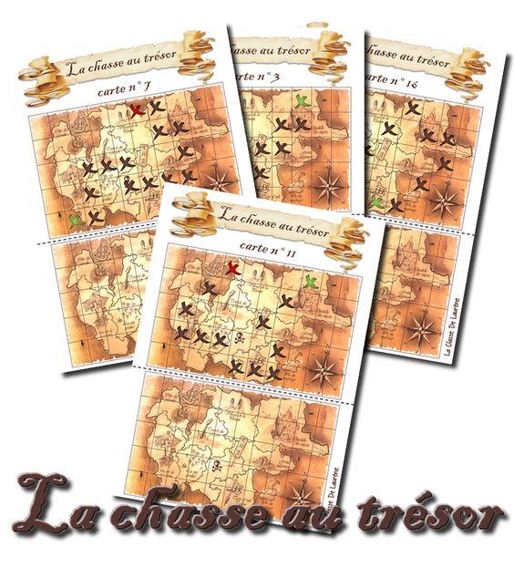 La chasse au trésor  se repérer dans un quadrillage et de le reproduire en replaçant les croix au même endroit dans le quadrillage du dessous. Il faut plastifier les fiches, et jouer avec des feutres effaçables.