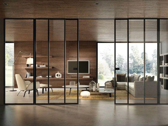 Porte coulissante en verre BISYSTEM Série Design by GAROFOLI