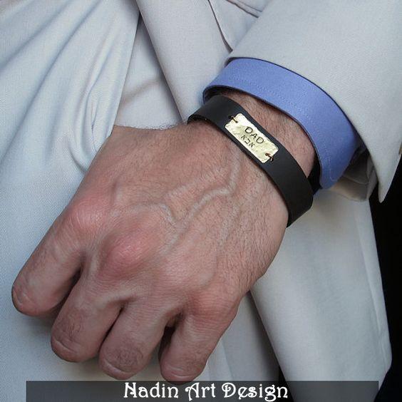 Herren Armband.Hand gestempelter Hebräischer Text  von NadinArtDesign auf DaWanda.com
