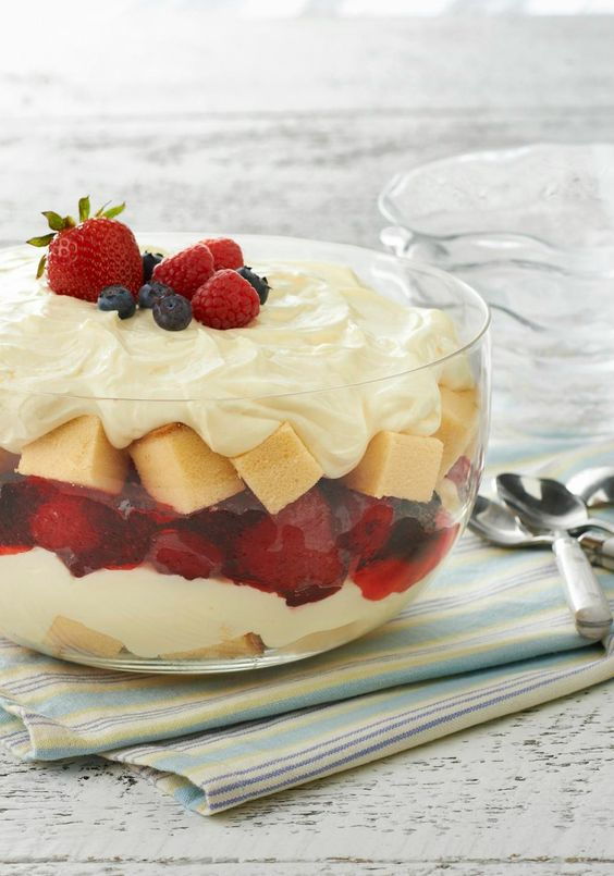 Summer Berry Trifle - This delicious and colorful dessert recipe is ...