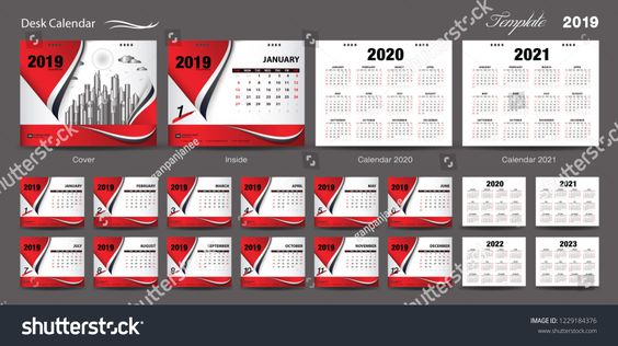 Set Desk Calendar 2019 Template Design Vector Calendar 2020 2021 2022 2023 Cover Design Set Of 12 Mon Calendar 2019 Template Template Design Flyer Layout