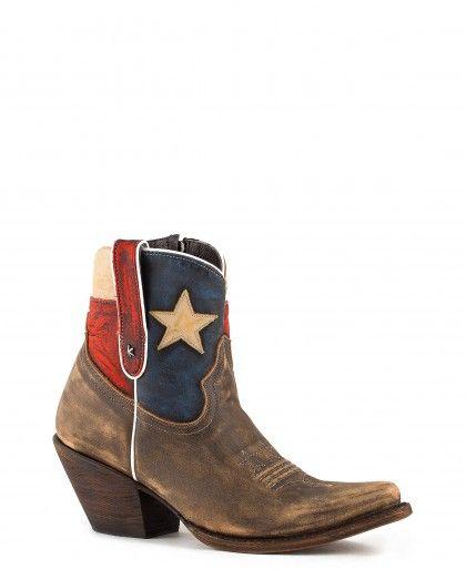 Women's Caborca Vintage Canela Texas Flag Boots #CA-ROCIO