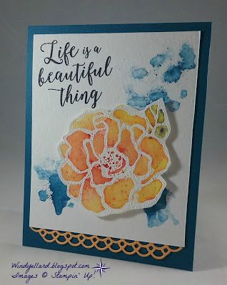 Windy's Wonderful Creations: Beautiful Thing With Brusho, Stampin' Up!,Brusho Crystal Color, Stampin' Up! Beautiful Day, Beautiful Day,Colorful Seasons