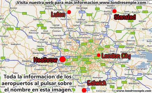 Mapa Aeropuertos Londres