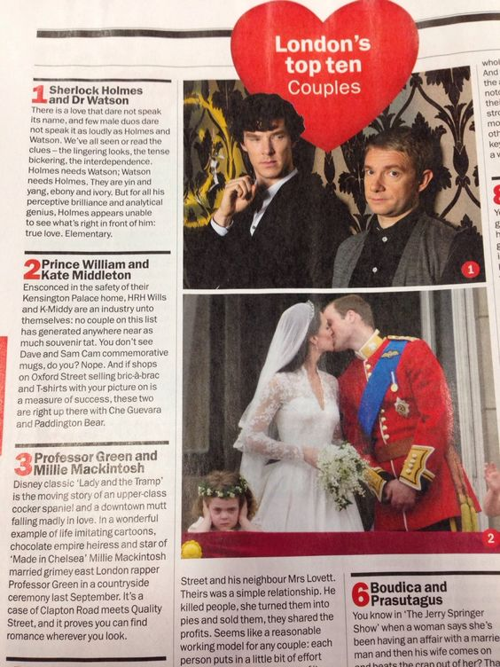Regardless of your opinion of Johnlock, you have to admit that having them beat out the Royals is HILARIOUS!